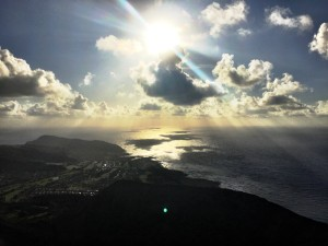 View of the eastside of Oahu from the top of Koko Head, approximately 7:00 AM.