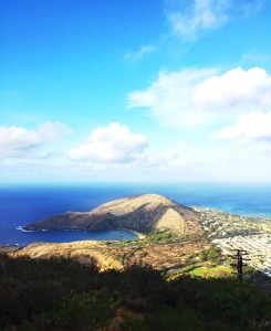 View of the westside of Oahu from the top of Koko Head, approximately 7:00 AM.