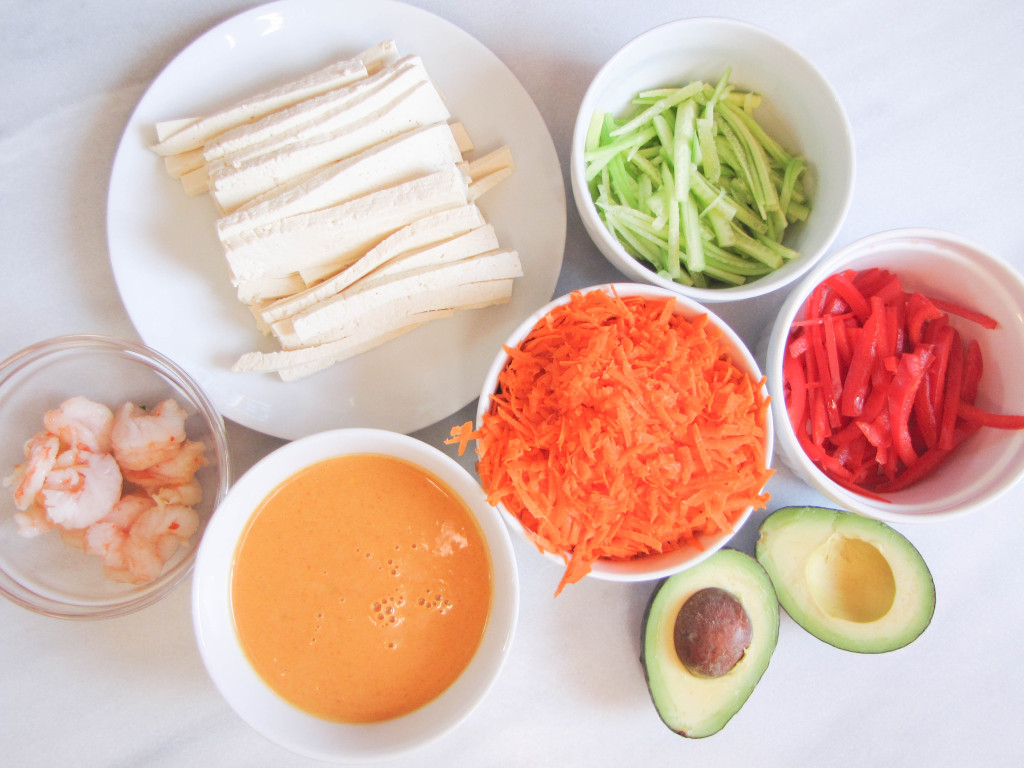 Summer Rolls with Red Curry-Peanut-Pumpkin Dipping Sauce | CaliGirl Cooking